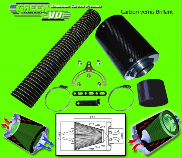 Green Universele Carbon glanzend air intake filter