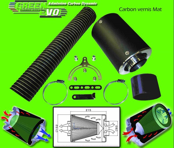Green Universele Carbon Mat air intake filter